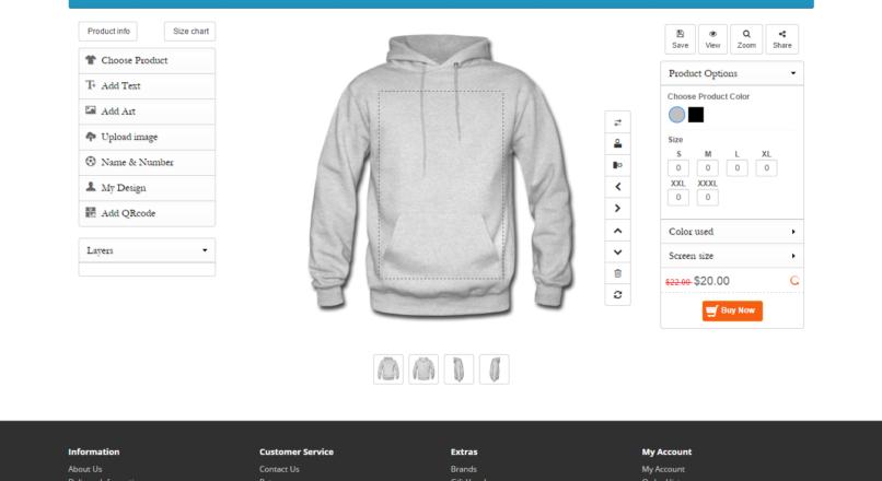 Opencart Custom Product Designer v 4.1.0