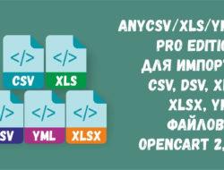 anyCSV/XLS/YML PRO Edition для импорта CSV, DSV, XLS, XLSX, YML файлов в OpenCart 2.0-2.3-v.4.1.0.1