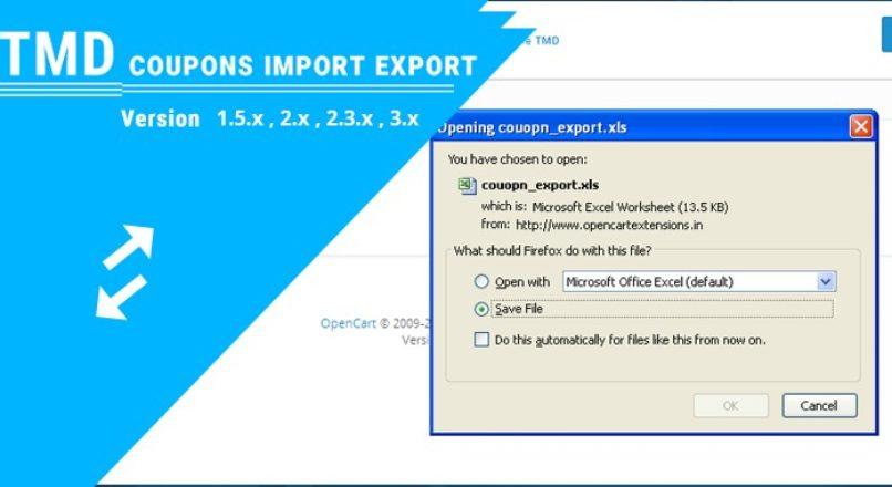 Coupon Import Export Opencart (1.5.x ,2.x & 3.x)