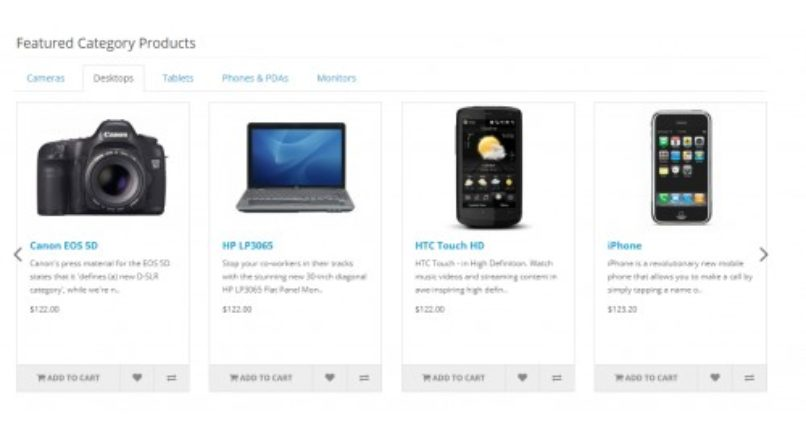Opencart — Featured Category Products