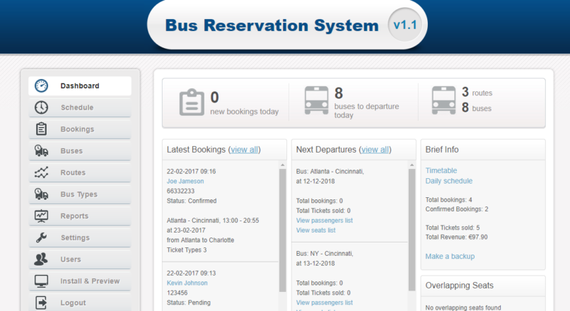 Bus Reservation System DEVELOPER LICENCE RUS