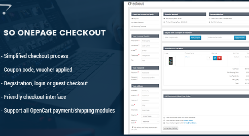 OnePage Checkout — Fast & Responsive Checkout Module for OpenCart 3.x v.1.1.5