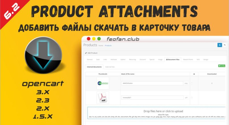 Product Attachments — Add files download to product v.6.2