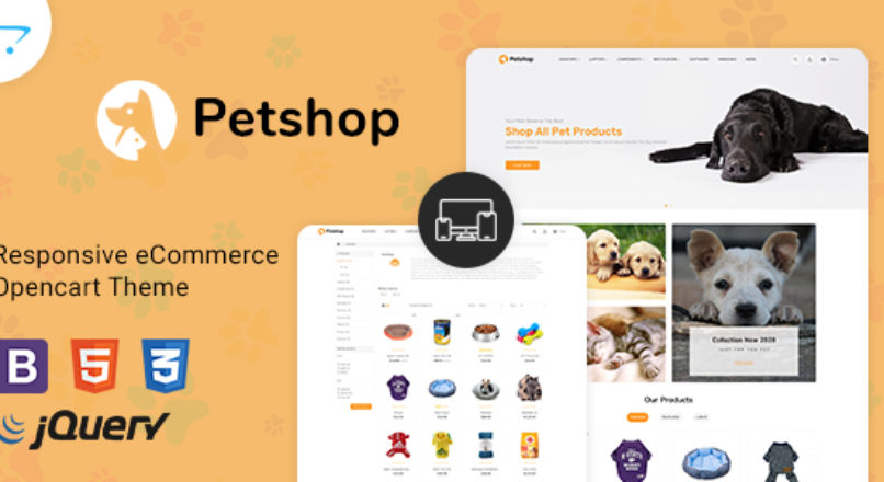 PetShop Responsive Food Pet Store OpenCart 3 Theme